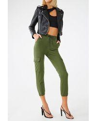 Forever 21 Drawstring Cargo Sweatpants - Green