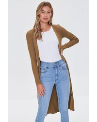Forever 21 Ribbed Longline Cardigan Sweater - Brown