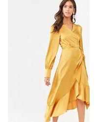 Forever 21 Ruffled High-low Wrap Dress , Sunset Gold - Metallic