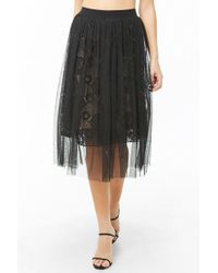 Forever 21 Sheer Mesh Embroidered-lace Midi Skirt , Black/nude