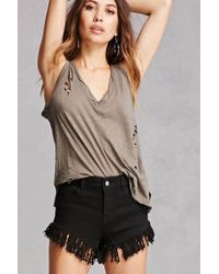 Forever 21 - Frayed High-rise Shorts - Lyst