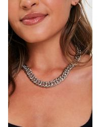 Forever 21 Chunky Curb Chain Necklace - Metallic