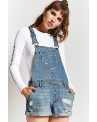 Forever 21 - Distressed Denim Dungaree Shorts - Lyst