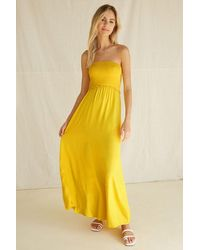 Forever 21 Strapless Smocked-bodice Maxi Dress - Yellow