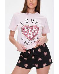 Forever 21 Love Pizza Graphic Pj Set , Pink/black