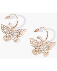 Forever 21 Butterfly Hoop Earrings - Metallic