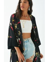 Forever 21 - Floral Print Ribbed-sleeve Kimono - Lyst