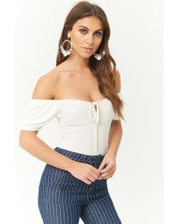 7faba47aec330 Lyst - Forever 21 Crossover Off-the-shoulder Top in White