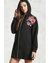FOREVER21 - Embroidered Floral Hoodie - Lyst
