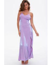 Forever 21 Satin Maxi Slip Dress In Lavender Small - Purple