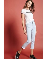 Forever 21 - High-waisted Capri Jeans - Lyst