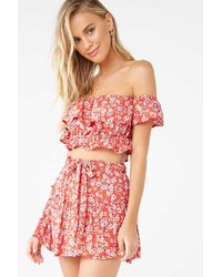 Forever 21 Floral Flounce Top & Skirt Set , Red/cream
