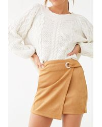 Forever 21 Faux Suede Mini Skirt - Natural