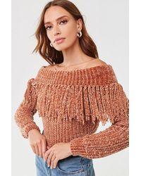 Forever 21 Fringe Off-the-shoulder Sweater - Multicolor