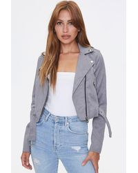 Forever 21 Faux Suede Moto Jacket - Gray