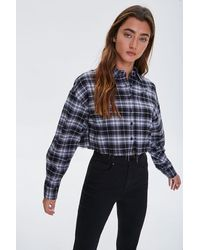 Forever 21 Cropped Flannel Shirt - Black
