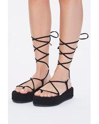 black faux suede lace up flatform sandals