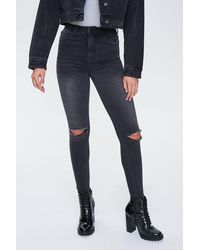 Forever 21 The Fairfax Distressed Super Skinny Jeans - Black