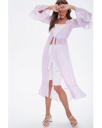 Forever 21 Sheer Chiffon Kimono - Purple