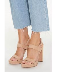 Forever 21 Ankle-strap Platform Block Heels - Blue