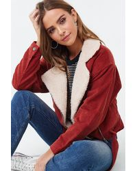 Forever 21 Belted Corduroy Jacket , Rust - Red
