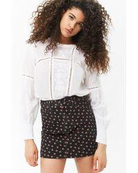 Forever 21 - Rose Print Denim Mini Skirt - Lyst