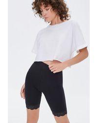 Forever 21 Lace-trim Biker Shorts - Black