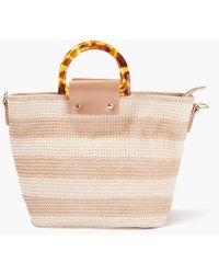 Forever 21 Striped Straw Tote Bag - Natural