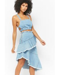 Forever 21 - Denim Crop Top & Frayed Skirt Set - Lyst