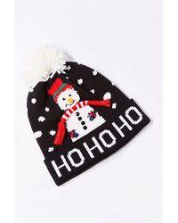 Forever 21 Ho Ho Ho Snowman Beanie - Black