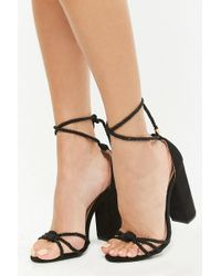 Forever 21 - Faux Suede Roped Chunky Heels - Lyst