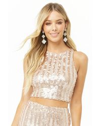 Forever 21 - Striped Metallic Sequin Crop Top - Lyst