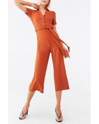Forever 21 Ribbed Belted Henley Jumpsuit - Orange