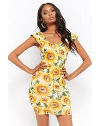 Forever 21 - Sunflower Print Bodycon Mini Dress - Lyst
