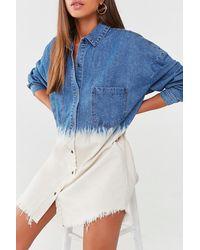 Missguided Denim Shirt Dress At , Blue/white