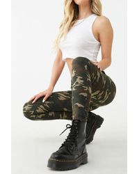 Forever 21 Distressed Camo Print Jeans , Olive/multi - Green