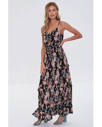 Forever 21 Floral Print Maxi Dress - Black