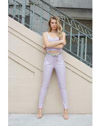Forever 21 Vinyl Skinny Pants , Lavender - Multicolour