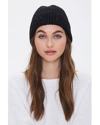 Forever 21 Speckled Rib-knit Beanie In Black