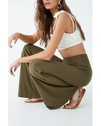 Forever 21 Women's Stretch Flare Pants - Green