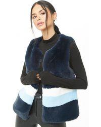 Forever 21 - Shaci Striped Faux Fur Vest - Lyst