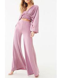 Forever 21 Smocked-hem Crop Top & Flared Pant Set , Lilac - Purple