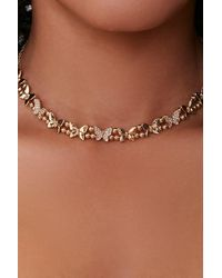 Forever 21 Butterfly Charm Choker Necklace - Metallic