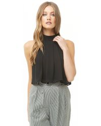 7aacdd53f8f06e Forever 21 - Billowy Sleeveless Crepe Top - Lyst