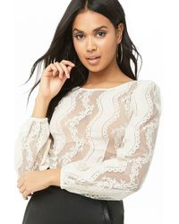 Forever 21 Sheer Lace Crop Top , Ivory - White