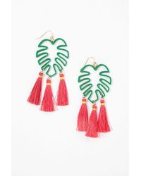 Forever 21 Leaf Tassel Drop Earrings - Green