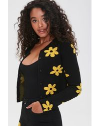 Forever 21 Daisy Print Buttoned Cardigan Sweater - Black