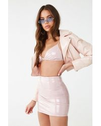 057f1721b6f Forever 21 - Faux Patent Leather Bralette   Skirt Set - Lyst