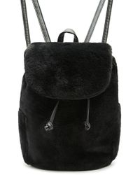 Forever 21 Faux Fur Backpack , Black