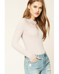 Forever 21 - Lace-paneled Bodysuit - Lyst